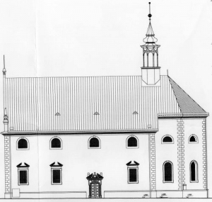 Chrám Sv. Trojice - schéma, západný pohľad