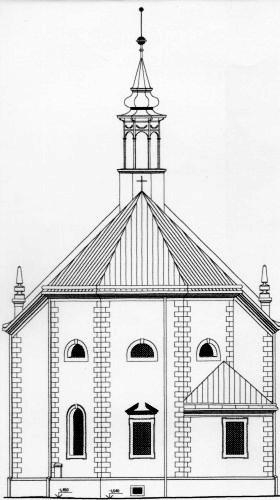 Chrám Sv. Trojice - schéma, južný pohľad