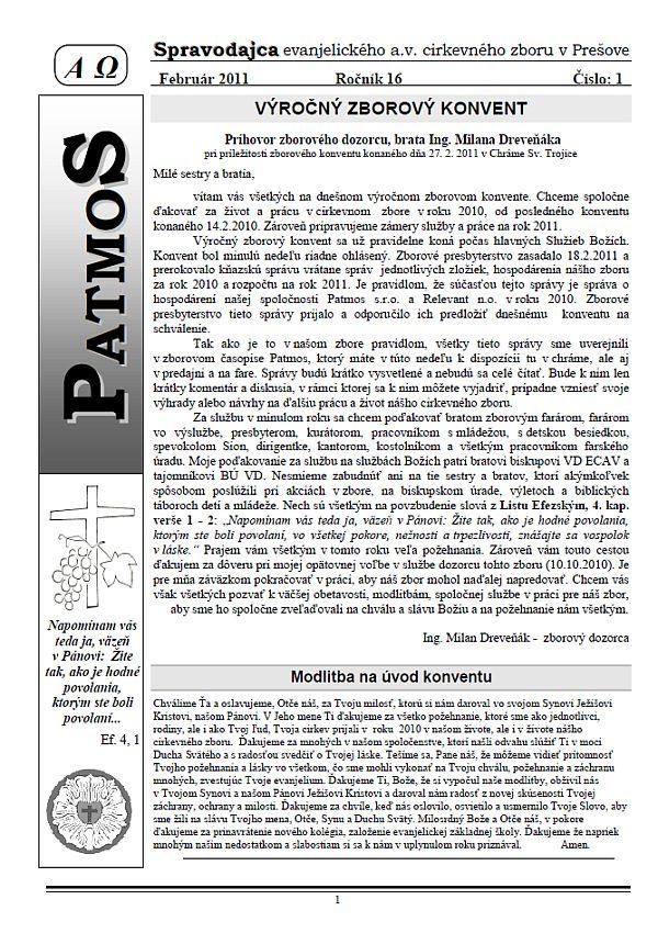 Časopis Patmos 2011-01