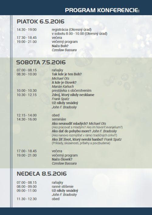 Konferencia EVS 2016 - Program